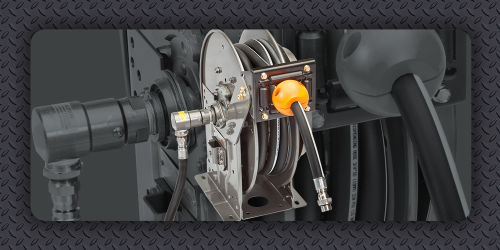 Properly install hose or cable on spring rewind reel