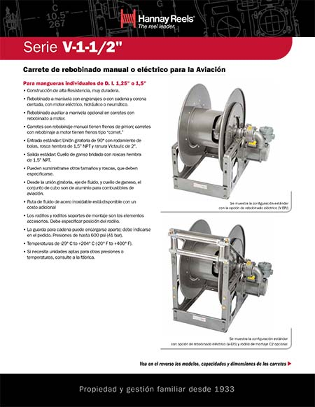 "Aviation Series V-1-1/2"" Reels (Spanish)"